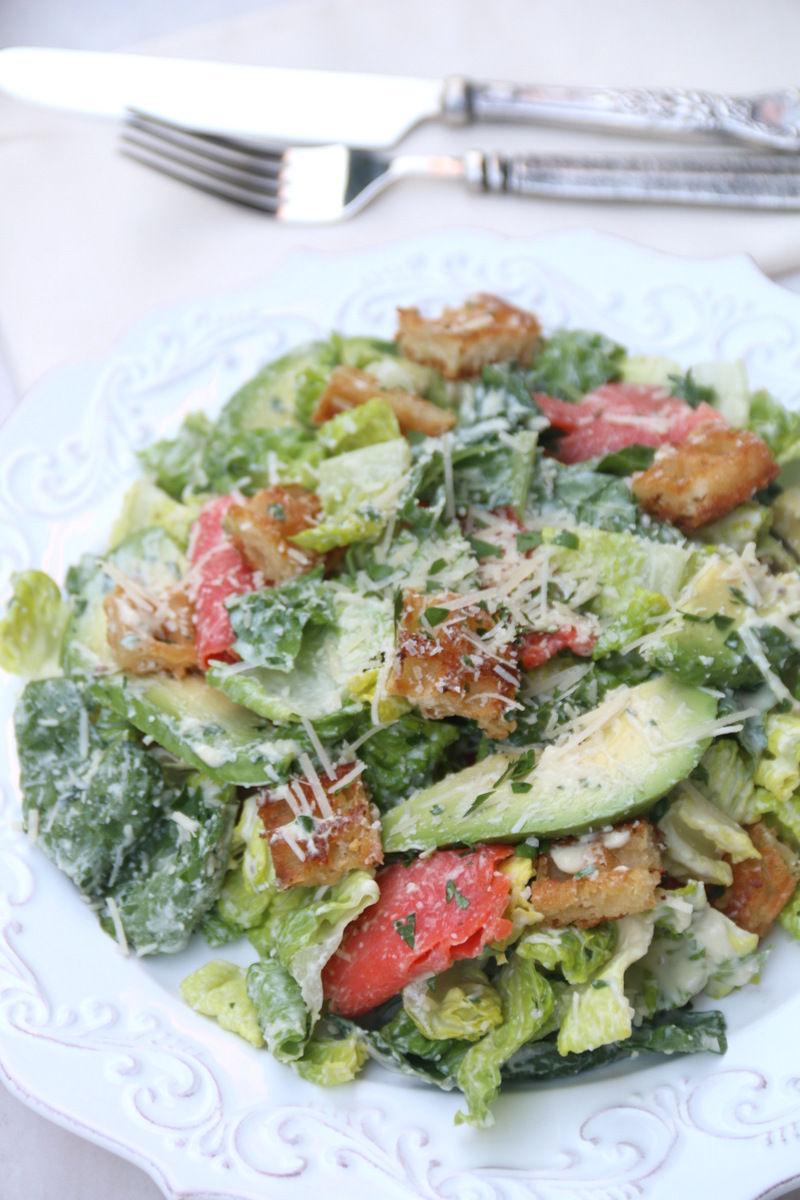 salad with avocado dressing and salmon/avocado Caesar salad - Laylita ...