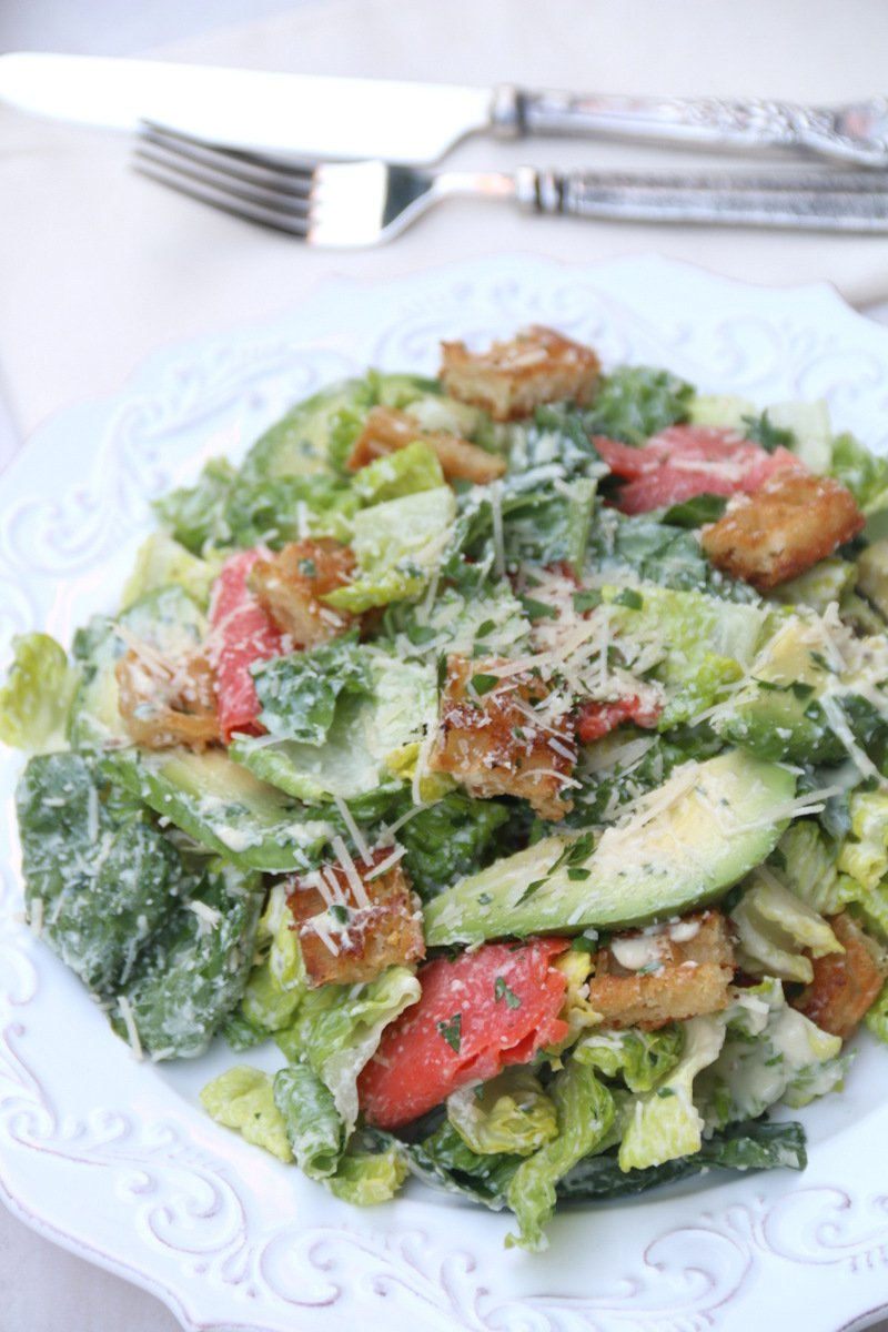 Smoked salmon and avocado caesar salad