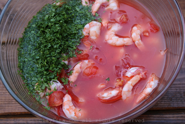 Add the chopped cilantro, oil, Bloody Mary tomato juice mix