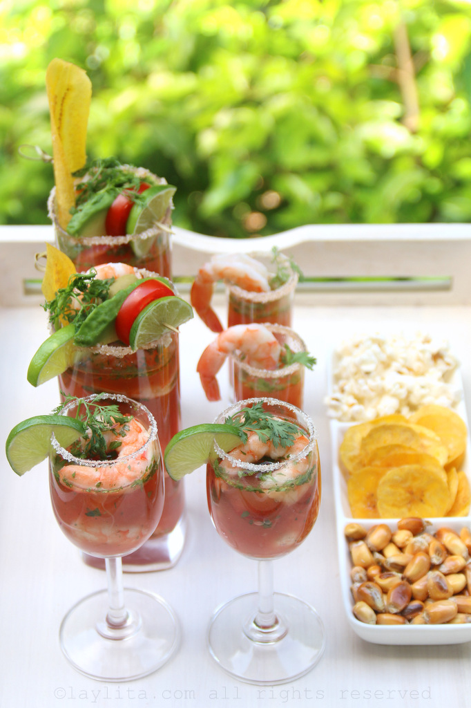 Bloody Mary shrimp cocktails with garnishes