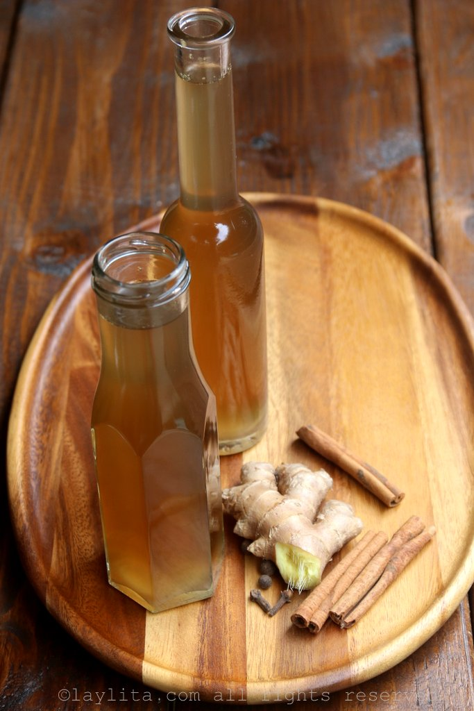 Homemade ginger simple syrup