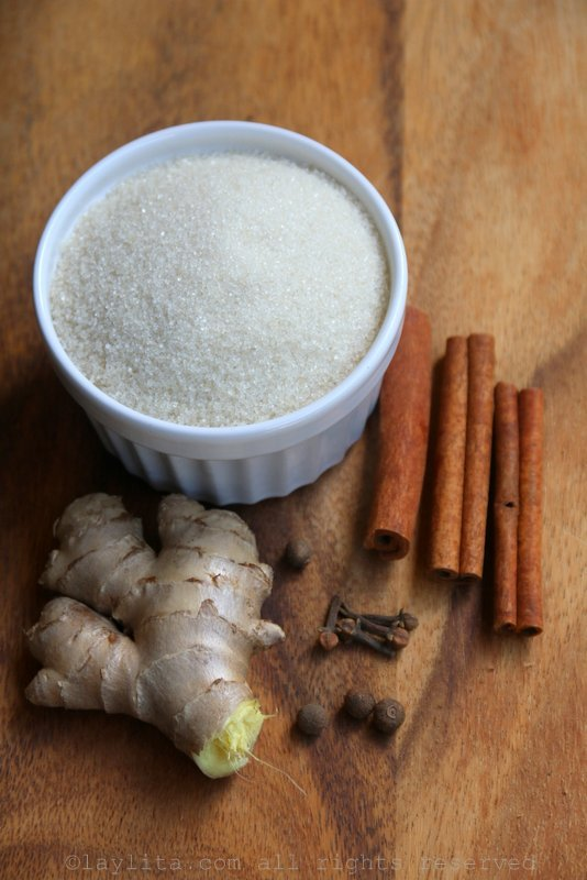 Ingredients for spiced ginger simple syrup