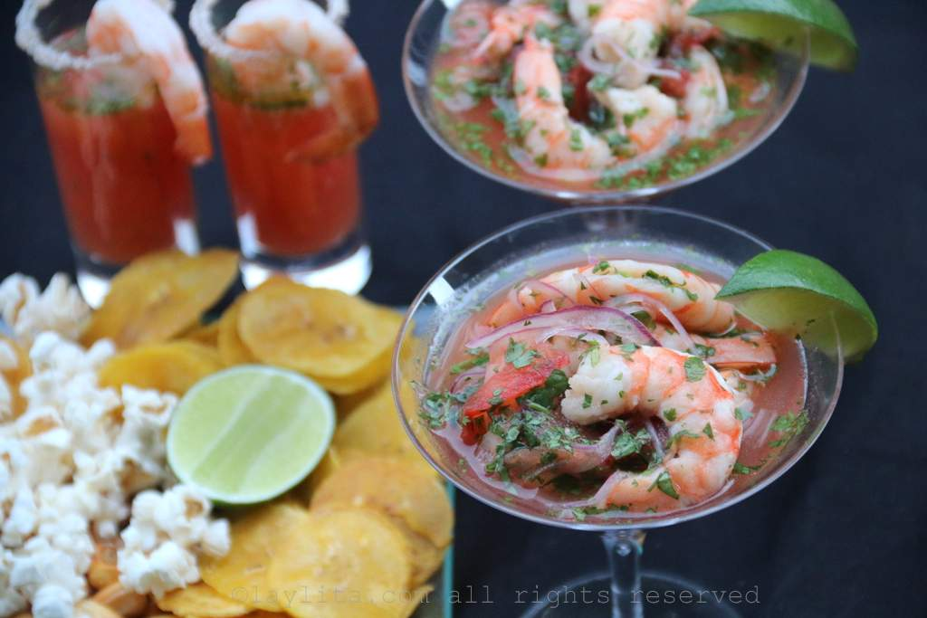 Shrimp ceviche with Bloody Mary twist