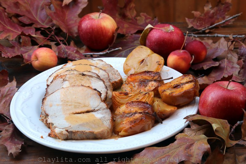 Roasted pork loin with apple cider sauce