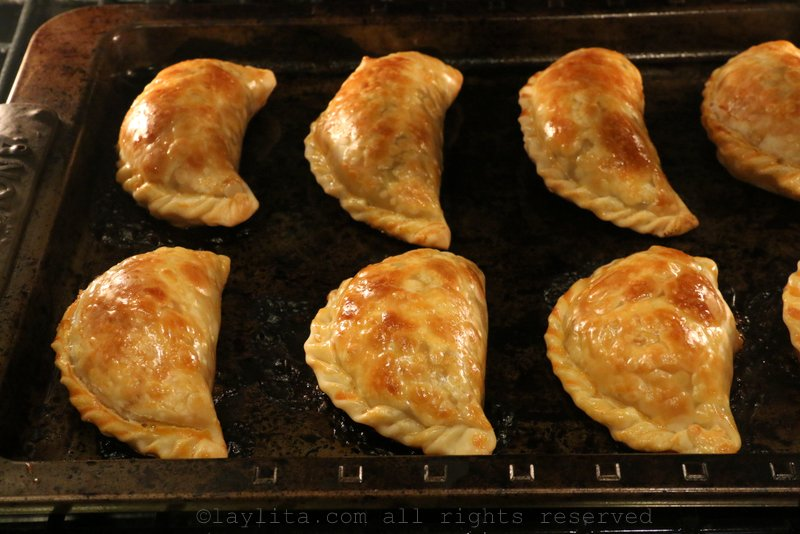 Bake the empanadas for about 20 minutes or until golden