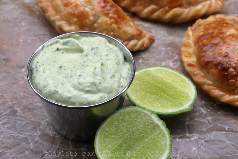 Spicy avocado cilantro dipping sauce for empanadas