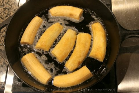 Heat the butter and add the ripe plantains