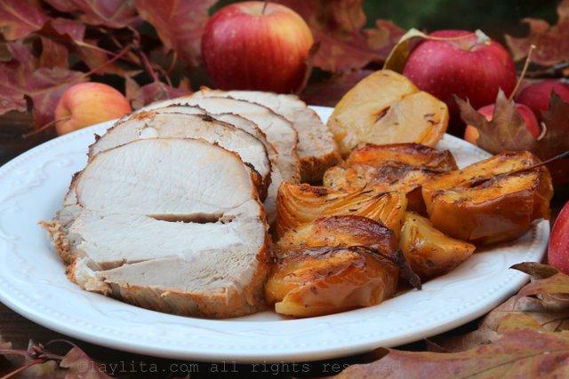 Pork loin baked in apple cider
