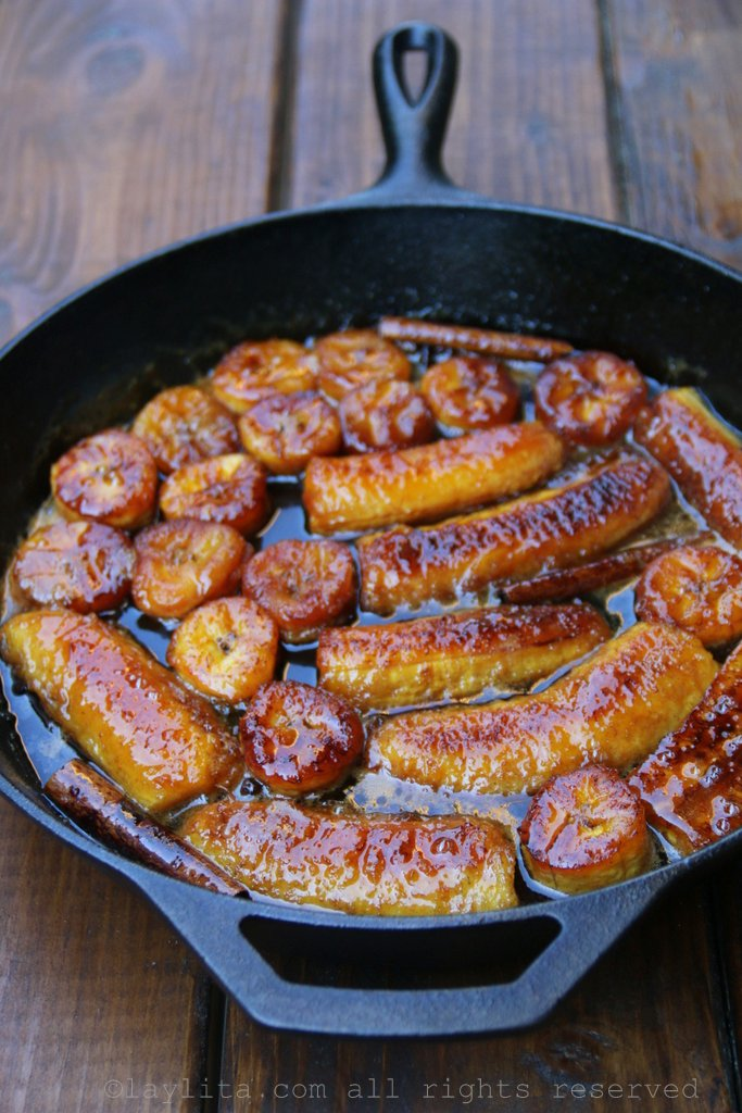 Caramelized plantains, also known as platanos en tentacion, platanos al caldero, platanos calados or dulce de platanos