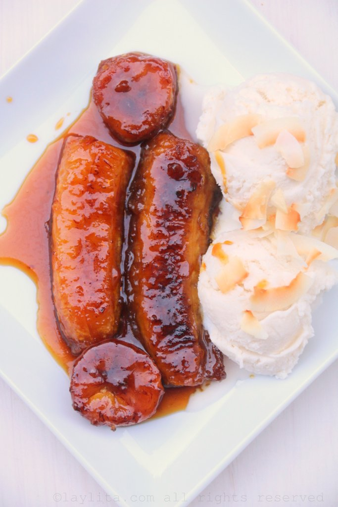 Caramelized ripe plantains with coconut rum ice cream