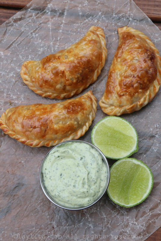 Empanadas with avocado dipping sauce