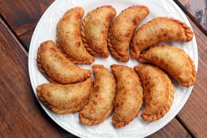 Fried langostino or crawfish empanadas