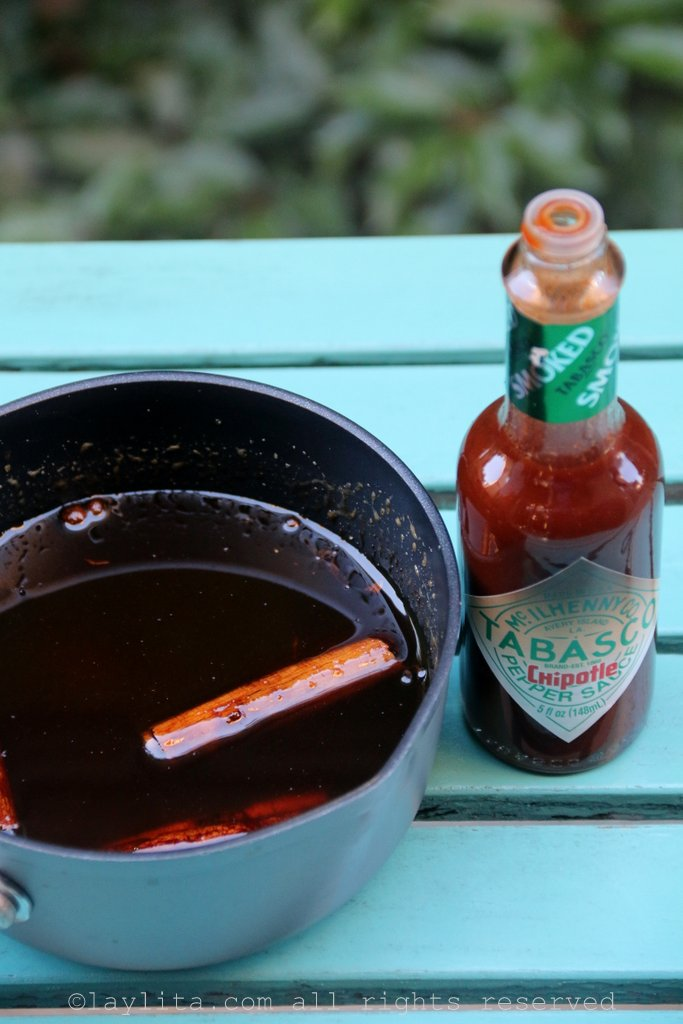 Spiced panela or piloncillo syrup with Tabasco Chipotle sauce