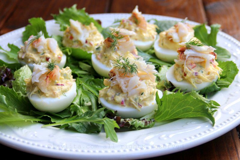 Crab stuffed deviled eggs