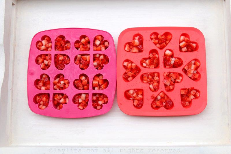 For small shaped ice cube trays it works better to used diced strawberries