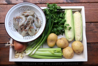 Ingredients for shrimp and corn chowder recipe