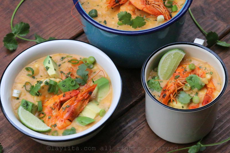 Serve the chowder with diced avocado, cilantro, green onions, and lime.
