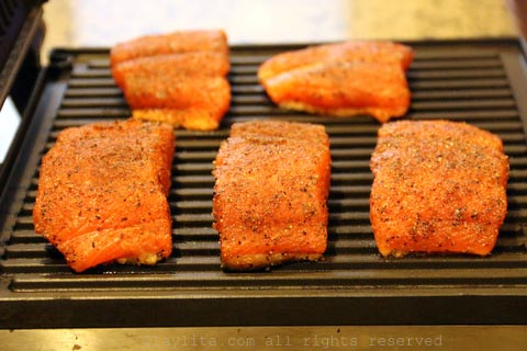Grill the salmon for the salad