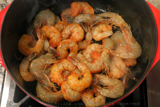 Sautee the shrimp with butter or oil
