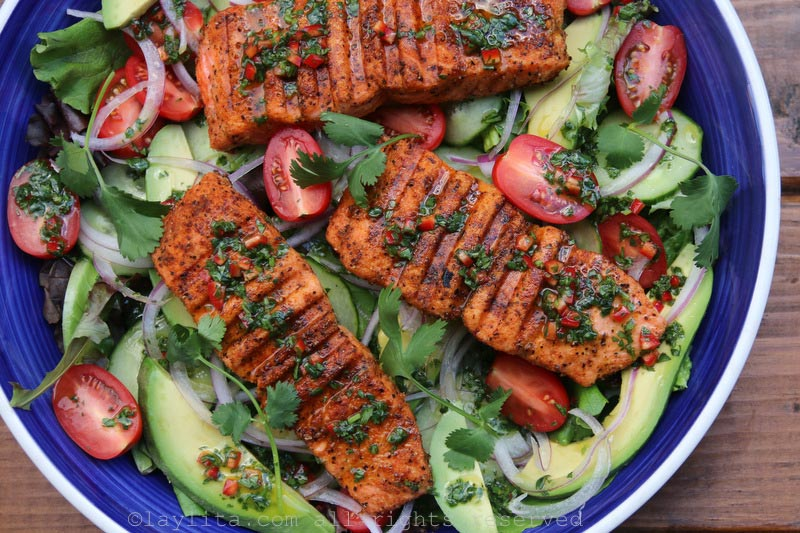 Add the grilled salmon and lime cilantro dressing