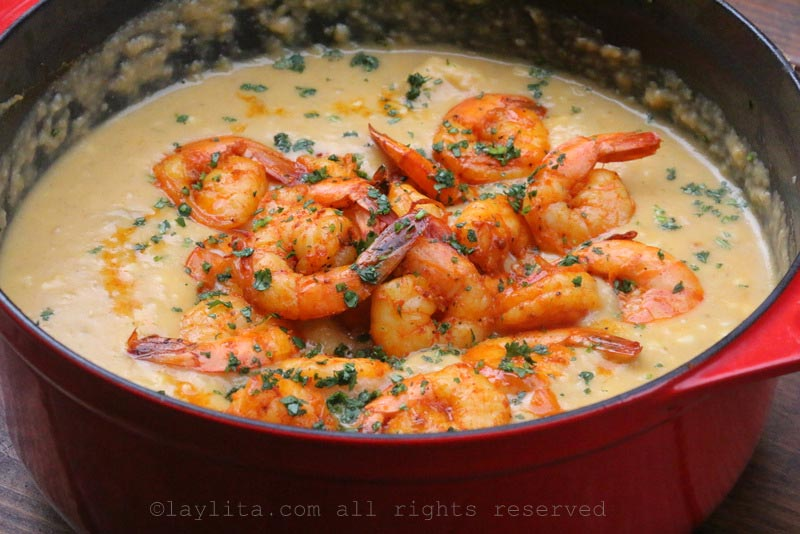 Latin style shrimp and corn chowder soup