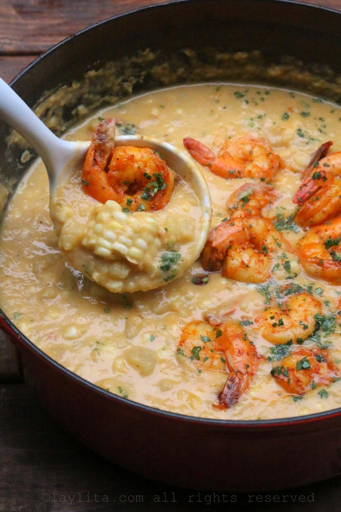 Potato, corn and shrimp chowder