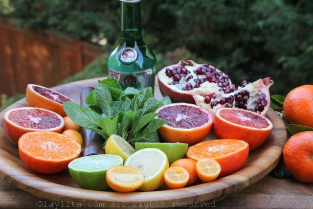 Naranjas, mandarinas, limon, menta, granada, y arak