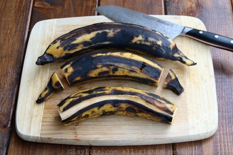 Sweet ripe plantains for breakfast picadillo hash