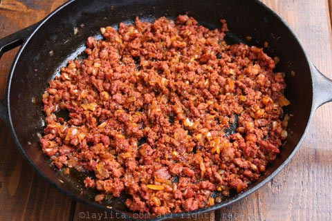 Cooked chorizo for plantain chorizo picadillo hash