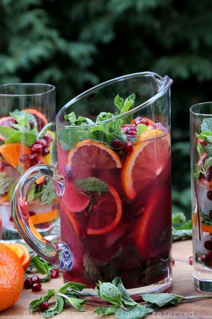 Arak mojito with pomegranate and citrus