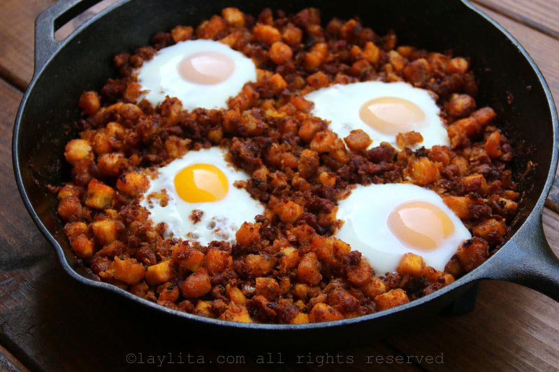 Chorizo and ripe plantain picadillo hash