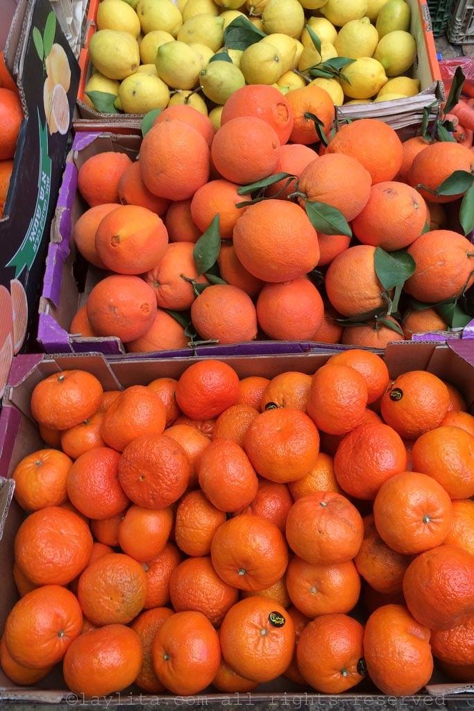 Citrus fruits at the market in Akko