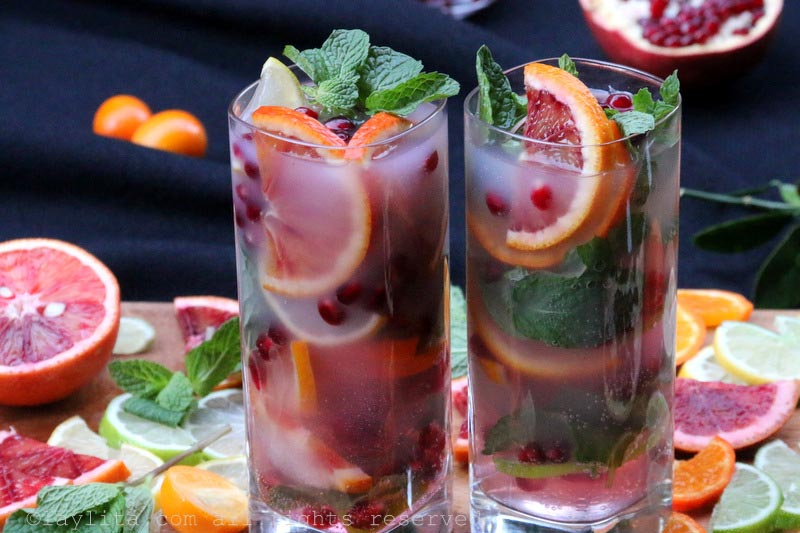 Citrus pomegranate mojito with arak