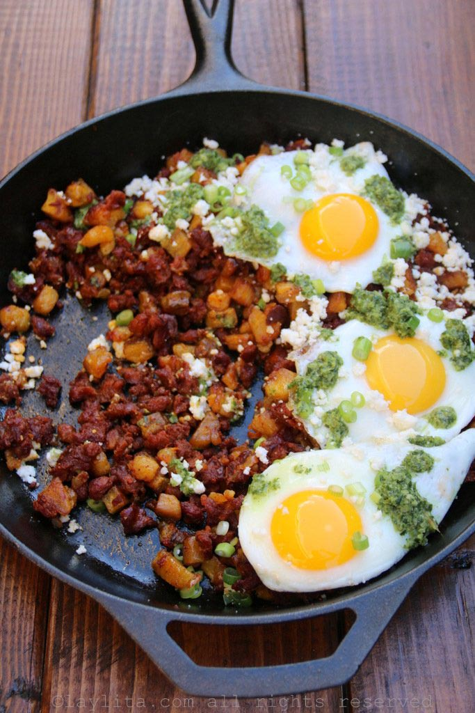 Plantain and chorizo breakfast hash