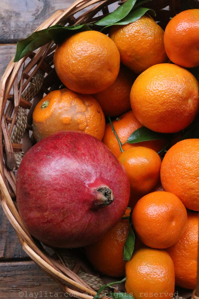 Pomegranate and citrus fruits
