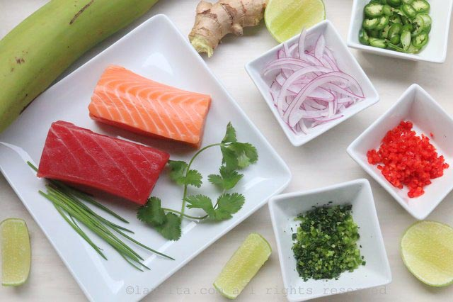Ingredients for salmon and tuna poke style ceviche