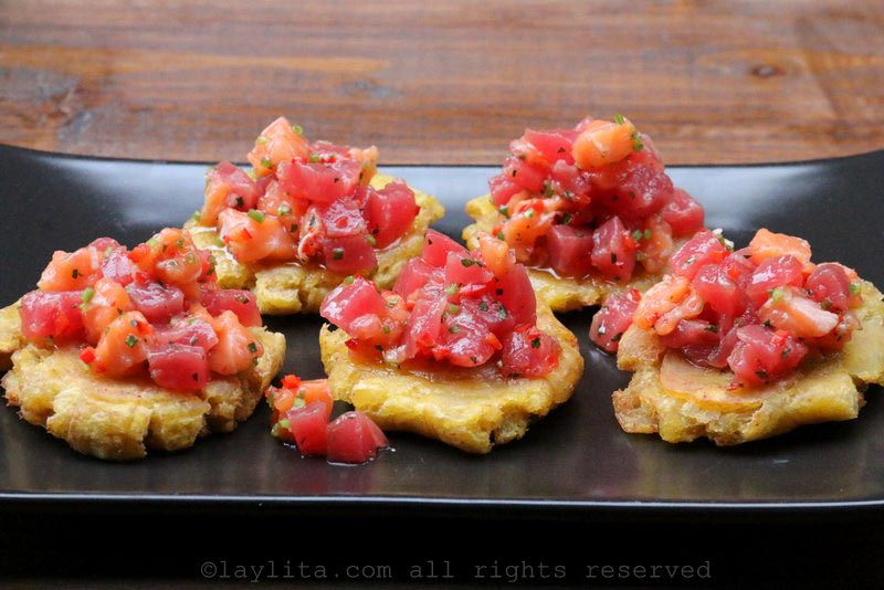 Serve the salmon and tuna ceviche on green plantain chips or patacones