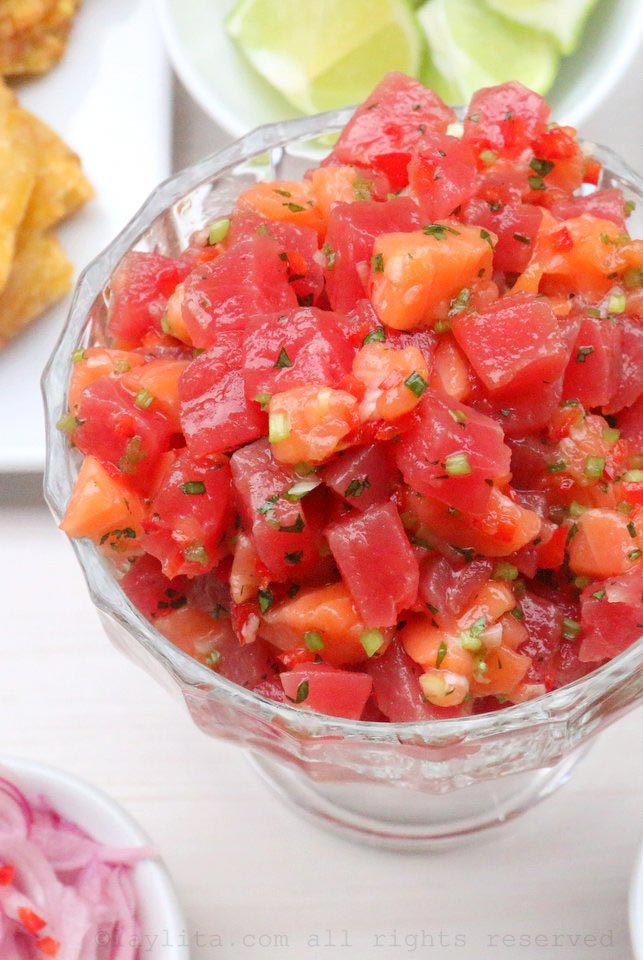 Poke style ceviche with tuna and salmon