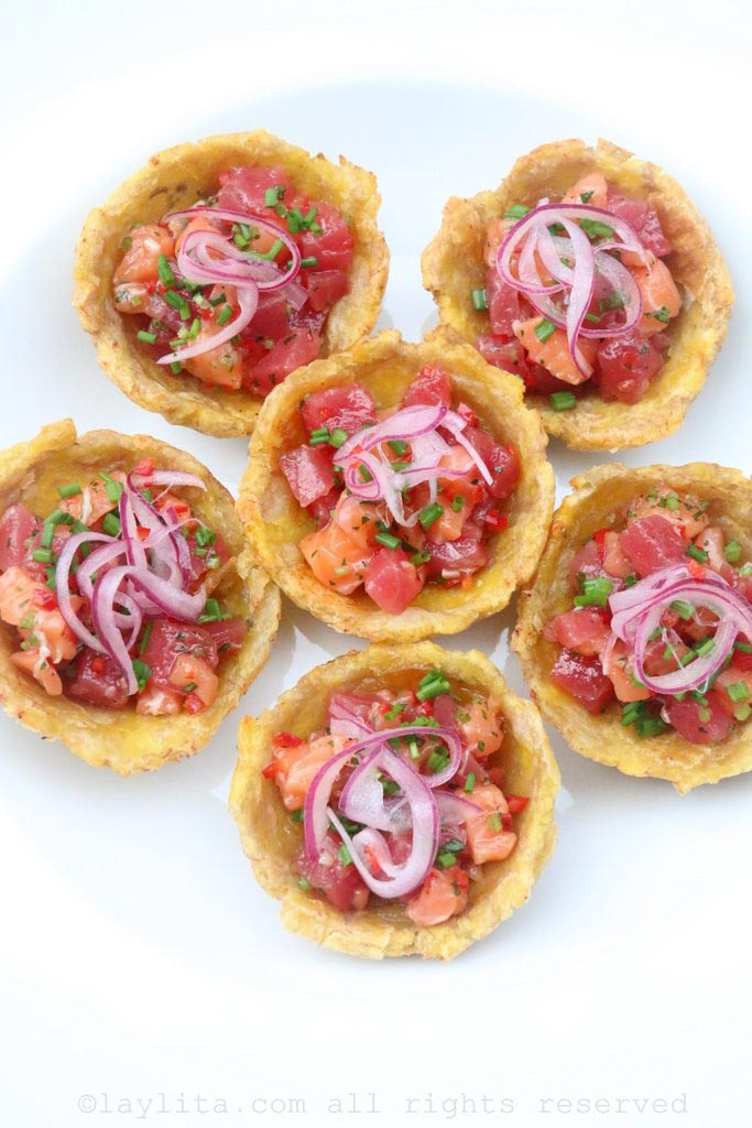 Tuna and salmon poke inspired ceviche