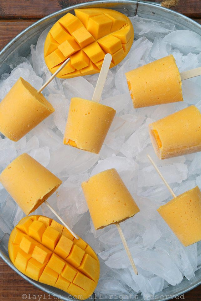 Yogurt mango smoothie popsicles