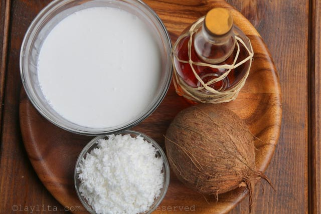 Ingredients for homemade coconut ice cream
