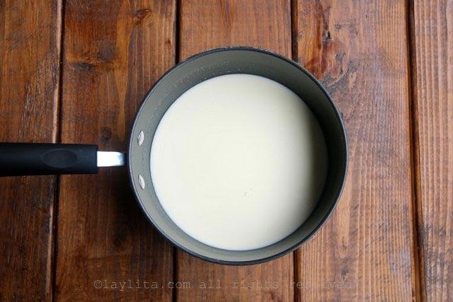 Mezcla de coco y crema para el helado