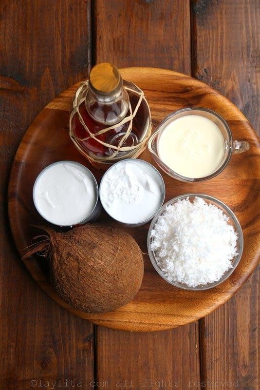 Ingredientes para el helado de coco