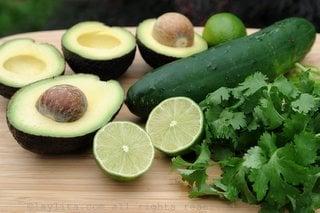 Ingredients for avocado cucumber sorbet