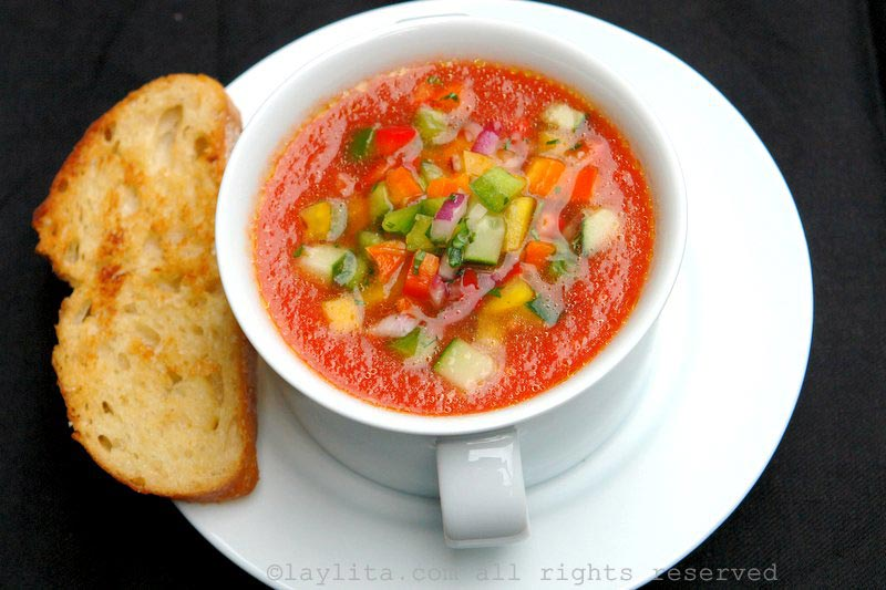 Gazpacho with cucumber bell pepper salsa