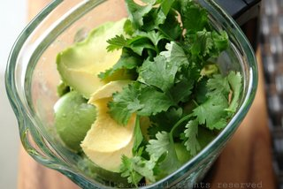 Place the ingredients for the avocado sorbet in the blender