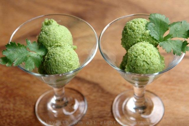 Savory avocado cucumber sorbet