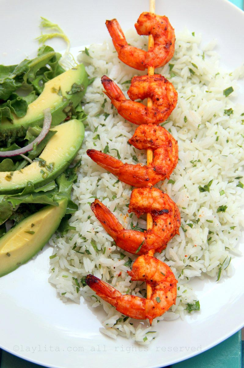 Cilantro rice with grilled shrimp