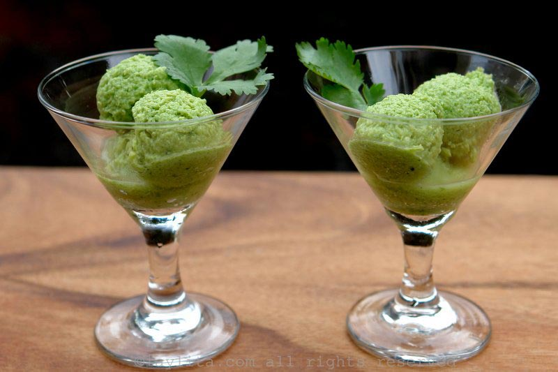 Cucumber and avocado sorbet