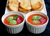 Gazpacho with avocado sorbet and garlic bread